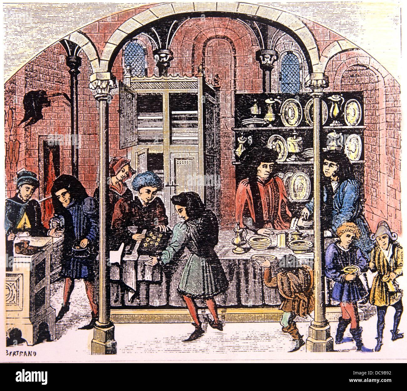 Mittelalterliche Periode. Markthalle. Goldschmied. An Ihren Händler. Schuhmacher. Tuchhändler. Geschäfte. Stockbild