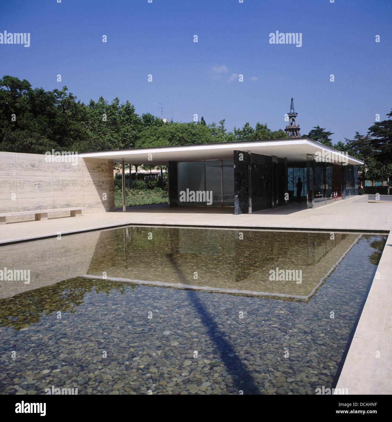 Deutschen Pavillon 1929 Von Mies Van Der Rohe Barcelona Spanien