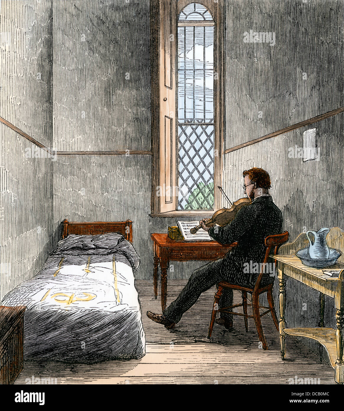 Patienten Spielen der Violine im Schlafsaal, Broadmoor kriminellen Irrenanstalt, London, 1860. Hand - farbige Holzschnitt Stockbild