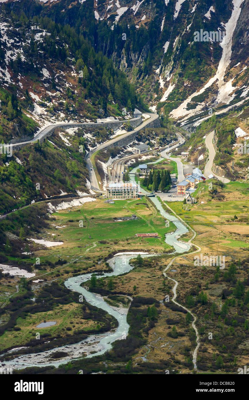 Haarnadel auf der Furka und Grimsel Pass in den Schweizer Alpen, in der Nähe von Gletsch Stockbild