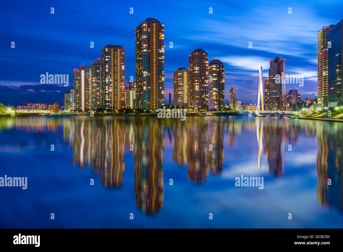 Tsukishima Skyline in Tokio, Japan. Stockbild