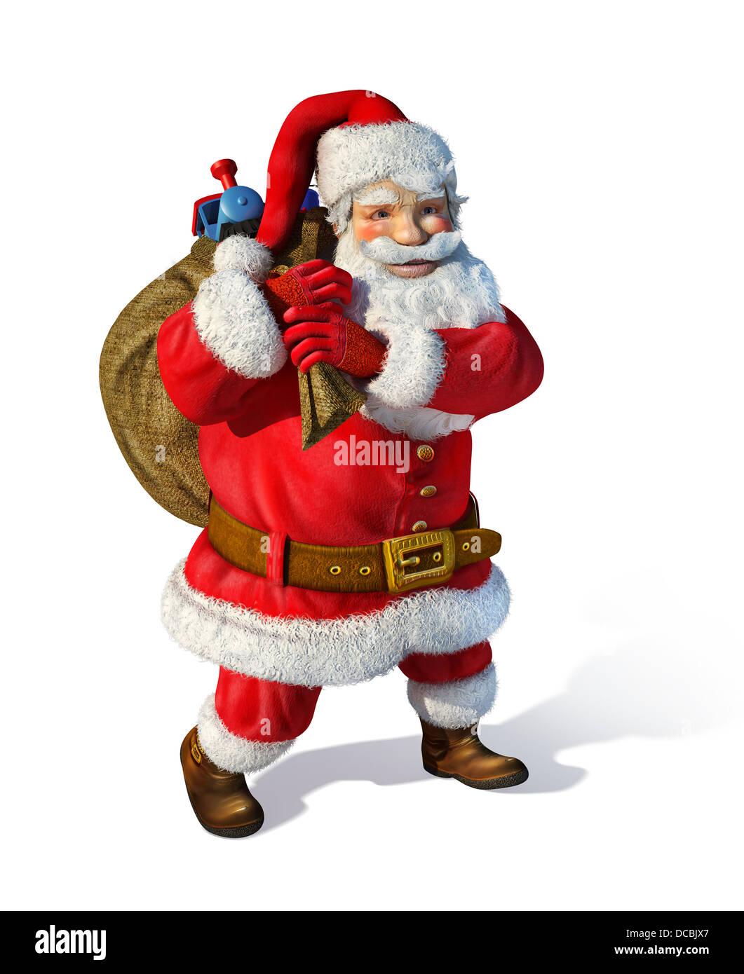 Weihnachtsmann stehend mit Tasche hinter den Schultern mit Spielzeug Insde. Auf weißem Hintergrund. Stockbild