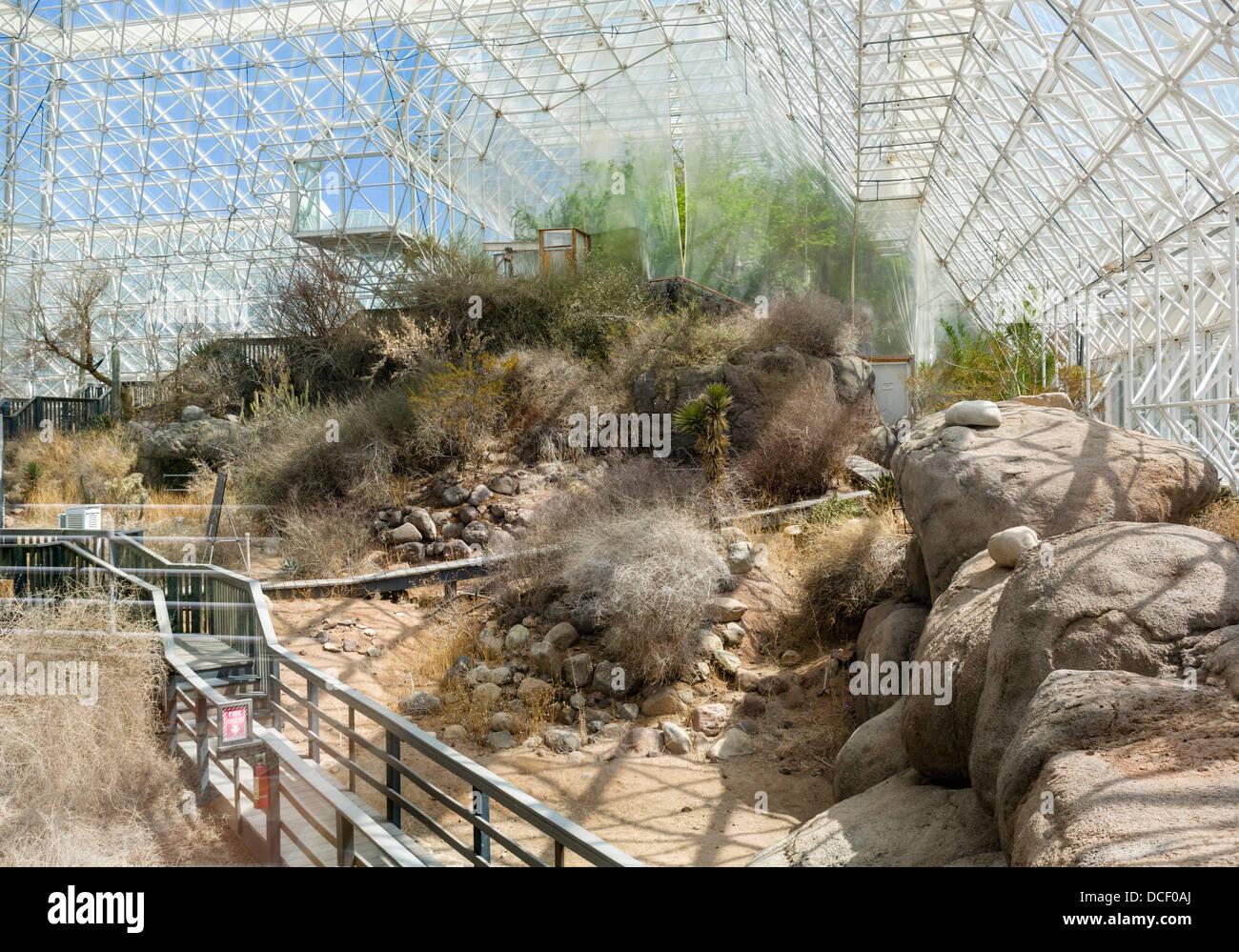 Die Wüste Bereich, Biosphäre 2 Erde Systeme Wissenschaft Forschungseinrichtung an der Universität Stockbild