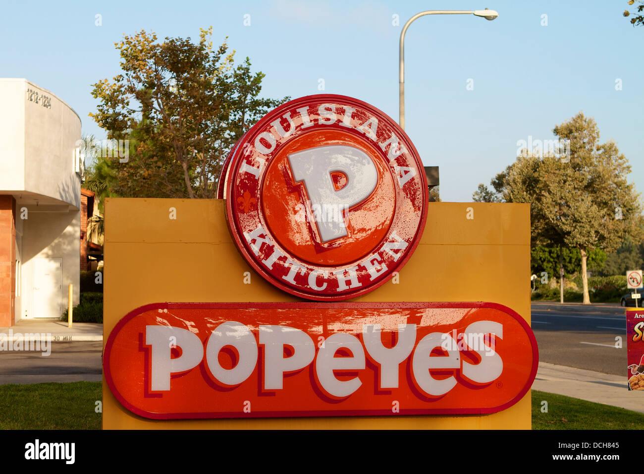 Popeyes Louisiana Küche, Restaurant in Kalifornien. Mit einem \