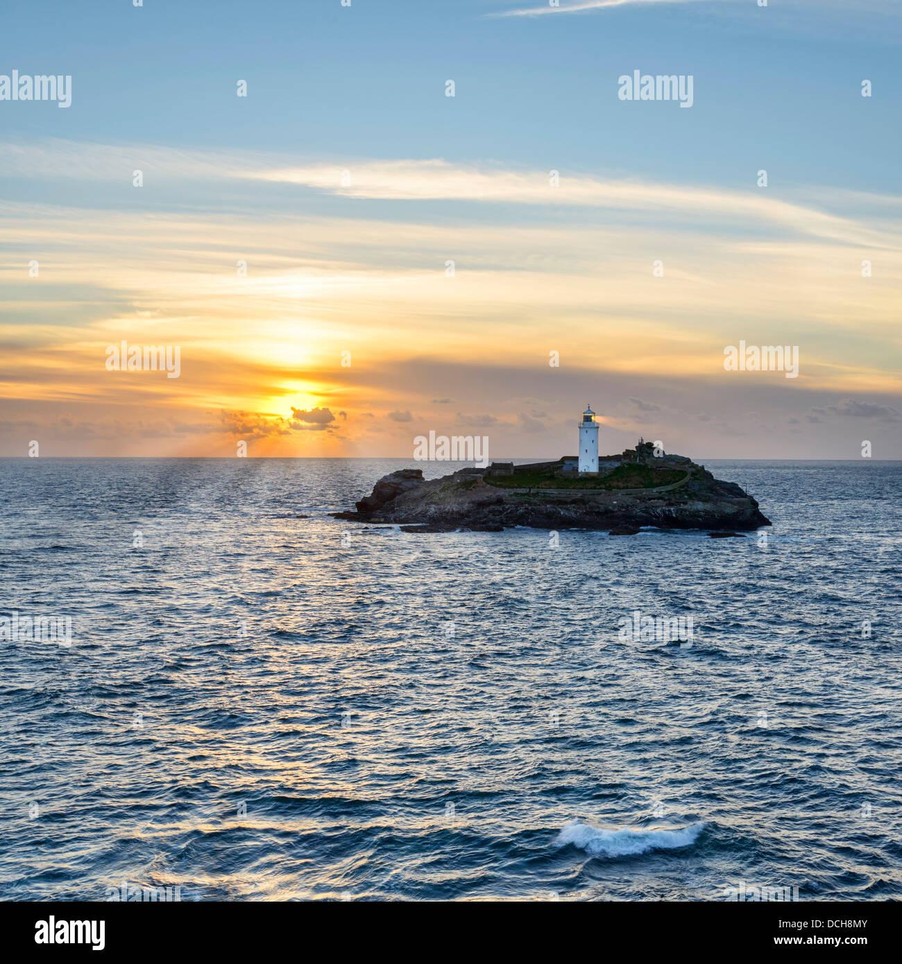 Sonnenuntergang am Godrevy Insel Stockbild