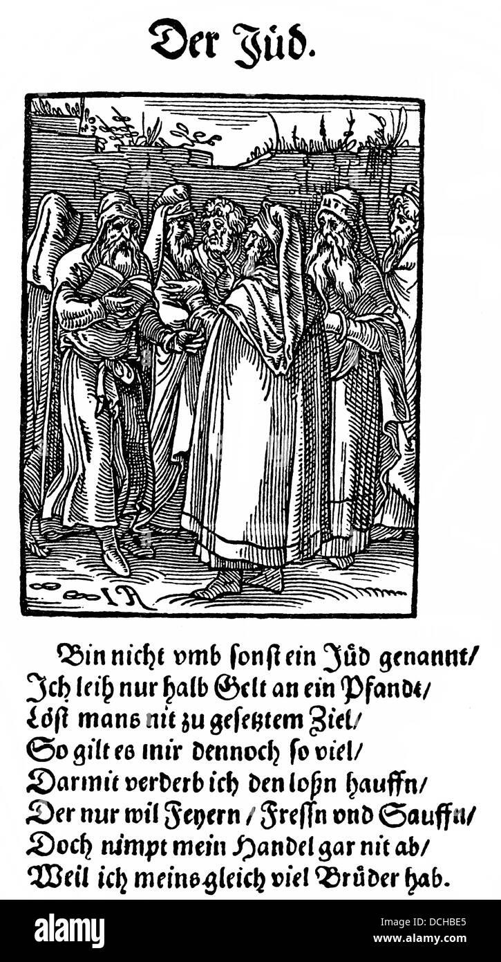 Historische Abbildung nach einem Holzschnitt von 1568, ein Beispiel der christlichen Antijudaismus im 16. Jahrhundert Stockbild