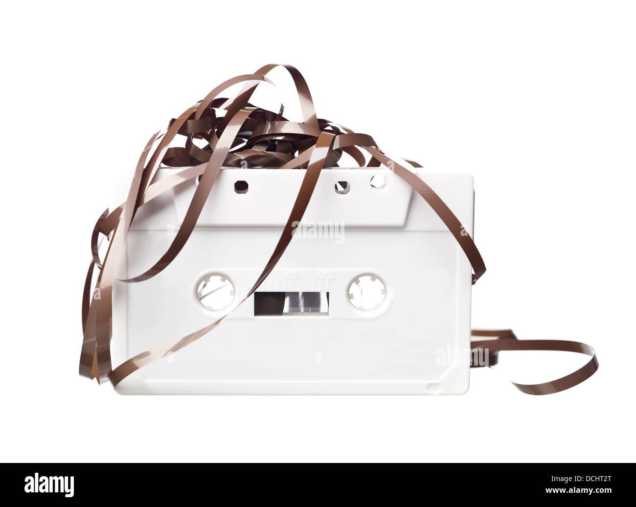Weiß Audio-Kassette Stockbild