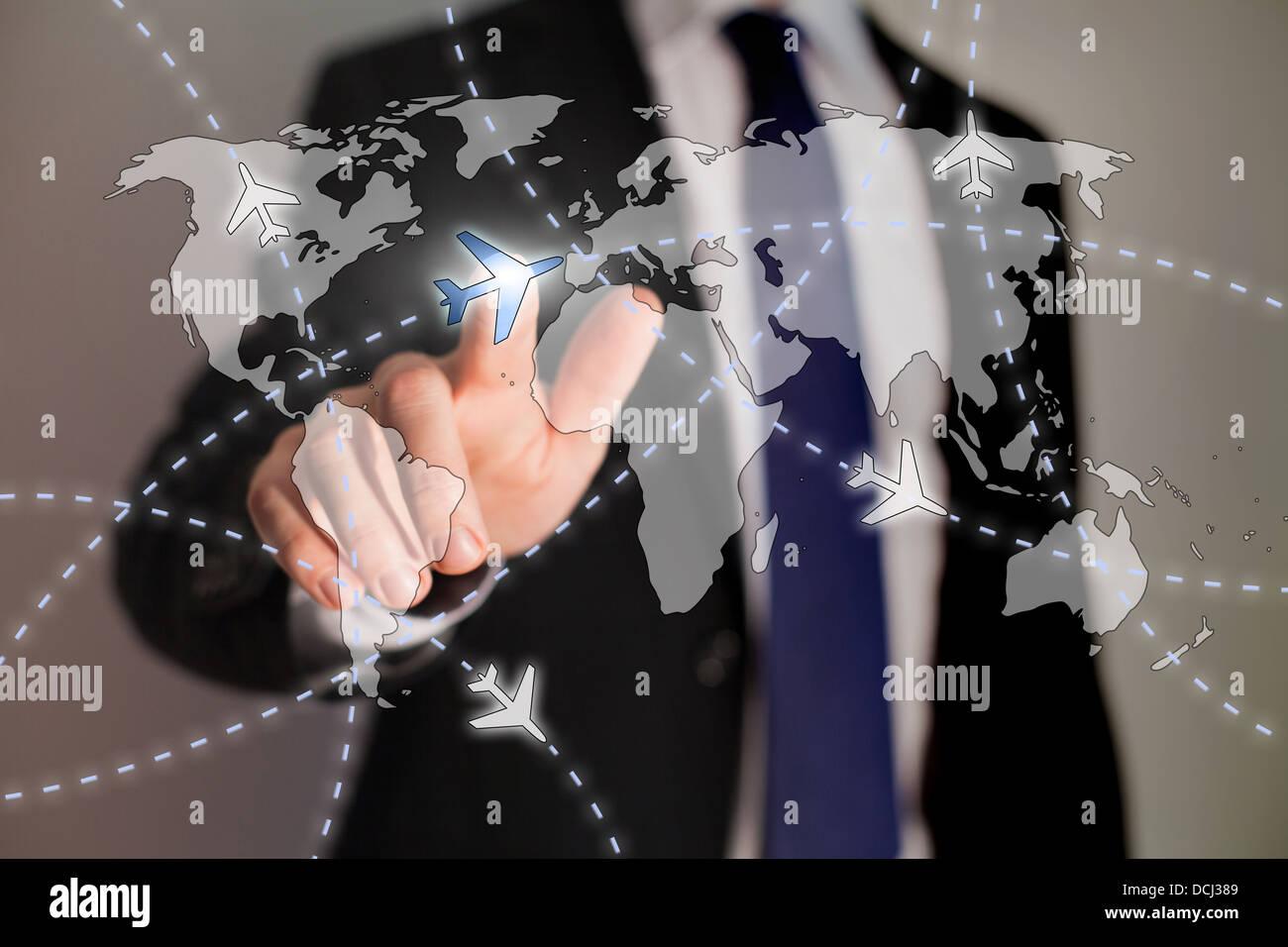 Reisen Geschäftskonzept, Wege der Flugzeuge auf der Weltkarte Stockbild