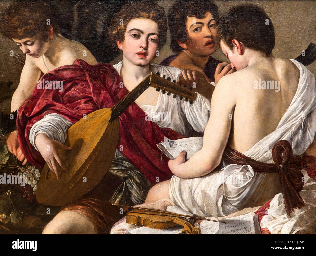 16. Jahrhundert - die Musiker, 1595 - Caravaggio Philippe Sauvan-Magnet / aktive Museum Stockbild
