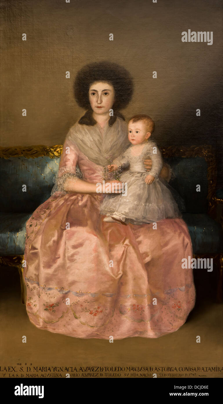 18. Jahrhundert - Condesa de Altamira und ihre Schwester, Maria Agustina, 1787 - Goya Philippe Sauvan-Magnet / aktive Stockbild