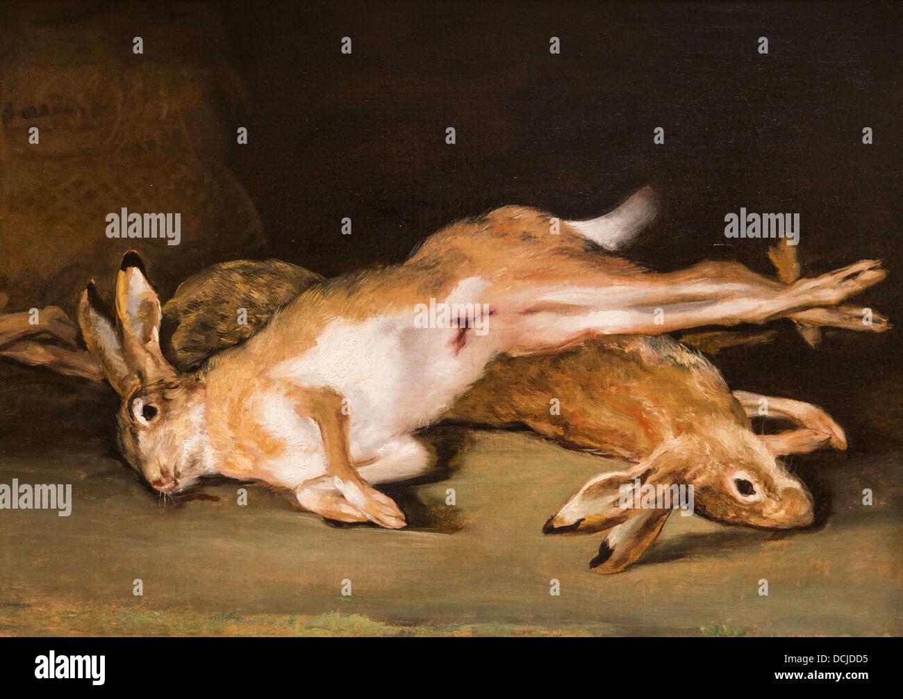 19. Jahrhundert - Stillleben mit starb Harres, 1820 - Goya Philippe Sauvan-Magnet / aktive Museum Stockbild