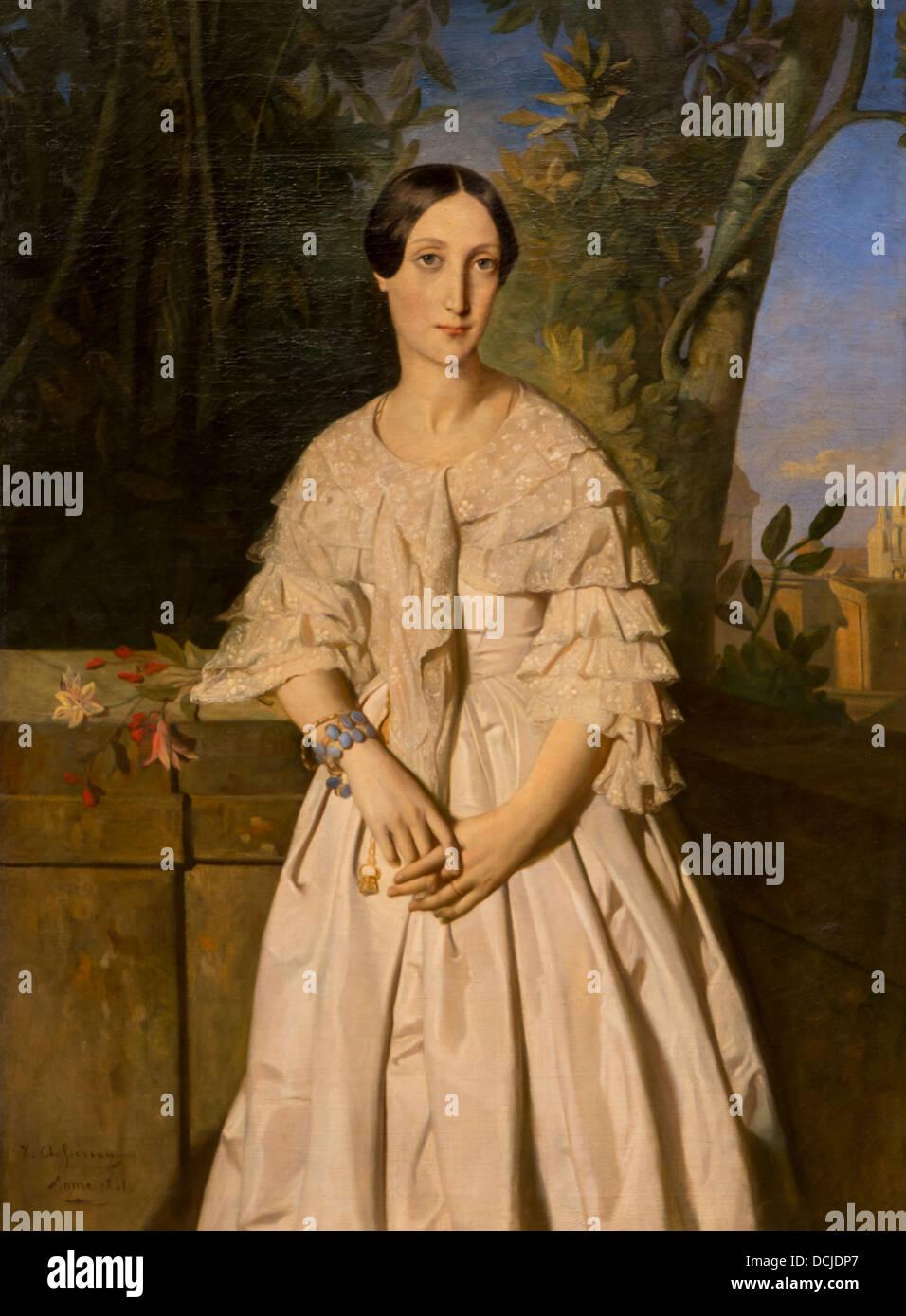 19. Jahrhundert - Comtesse De La Tour-Maubourg, geboren Marie-Louise Thomas de Pange), 1841 - Théodore Chassériau Stockbild