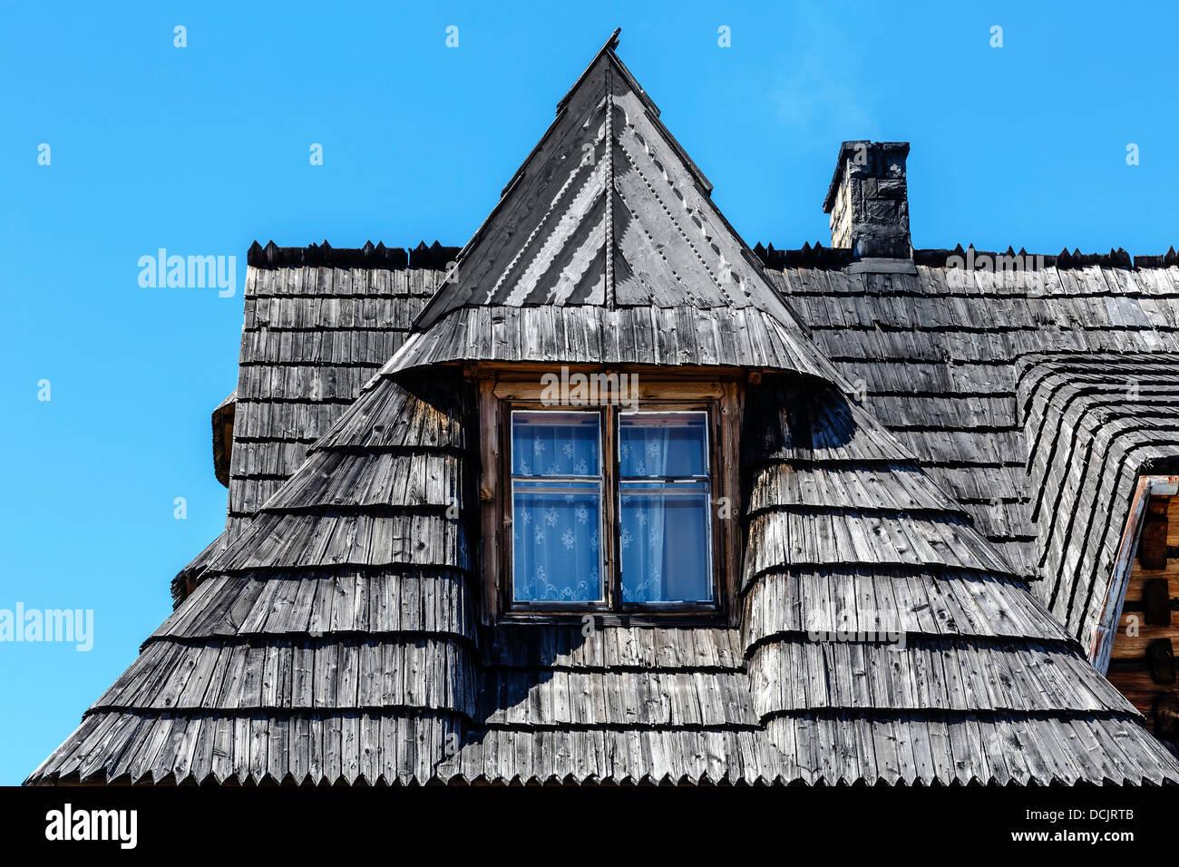 Traditionelle Dachschräge in Zakopane Stockbild