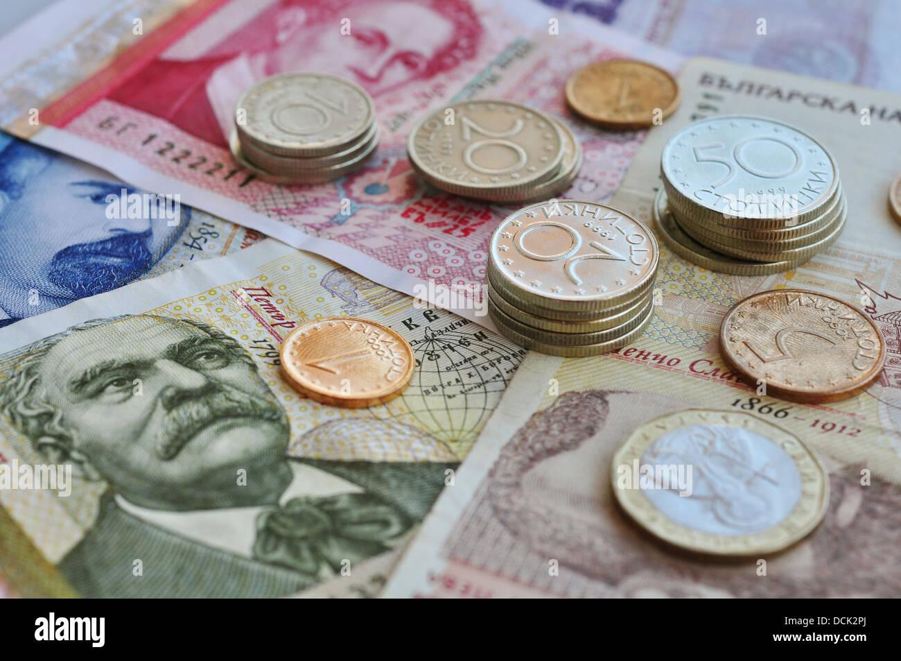 Bulgarische Geld Hautnah Flachen Dof Münzen Im Fokus Stockfoto