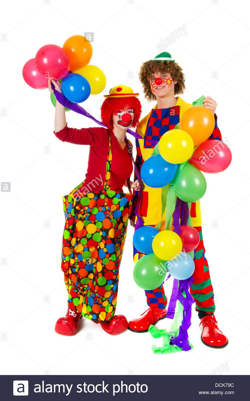 Paar Lustige Clowns Mit Luftballons Stockfoto Bild 59429816 Alamy
