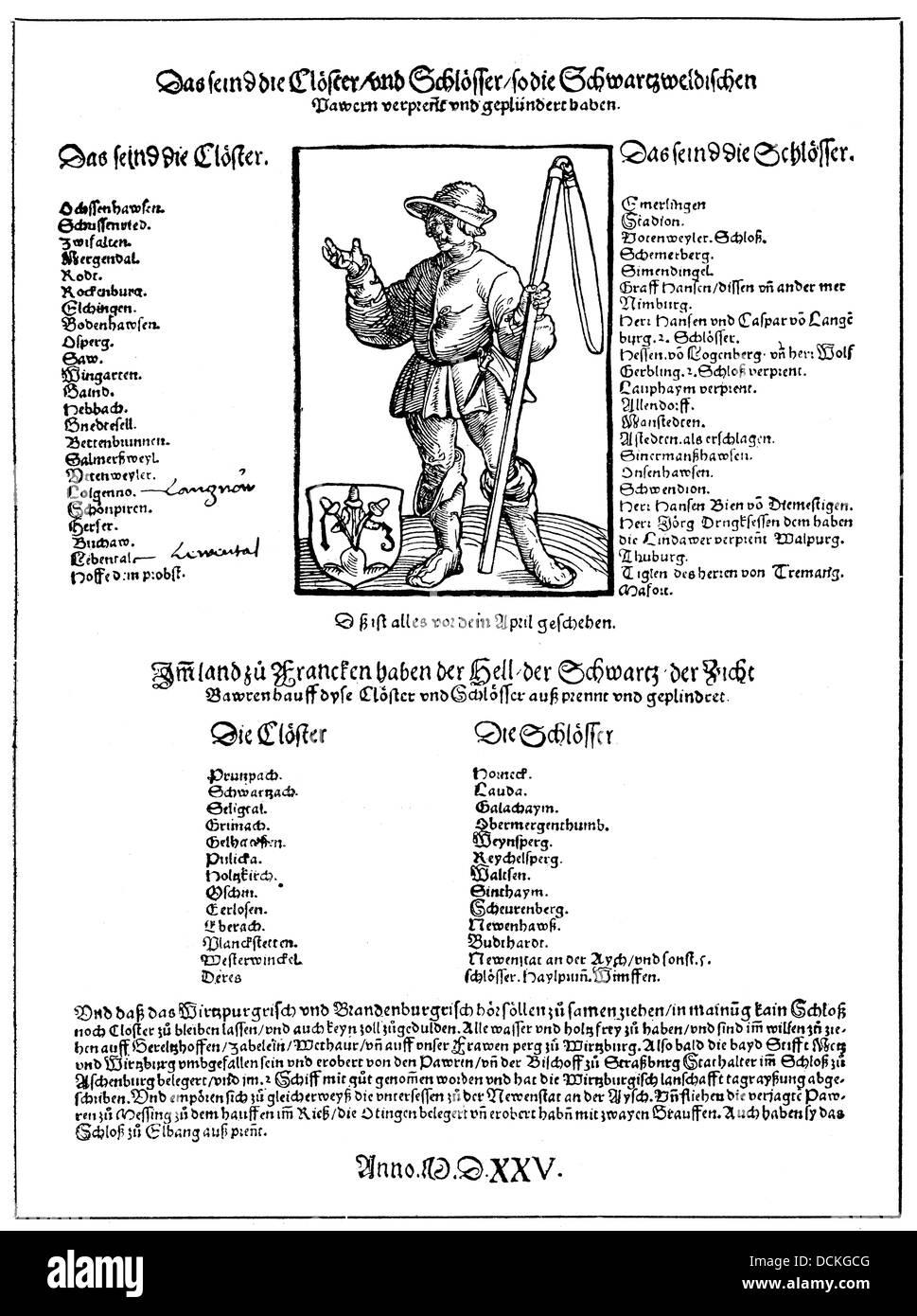 Historische Abbildung, Broschüre aus dem Bauernkrieg, 1525, Liste der zerstörten Klöster und Burgen Stockbild