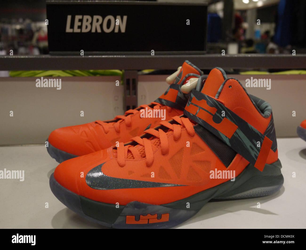 LeBron Signature Nike Basketball-Schuh Stockbild