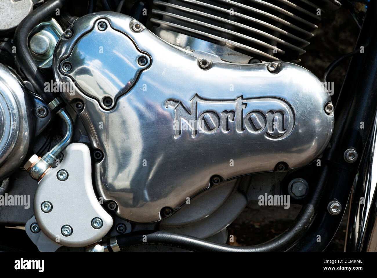 Norton-Motorrad-Motor-Gehäuse. Klassische britische Motorrad Stockbild