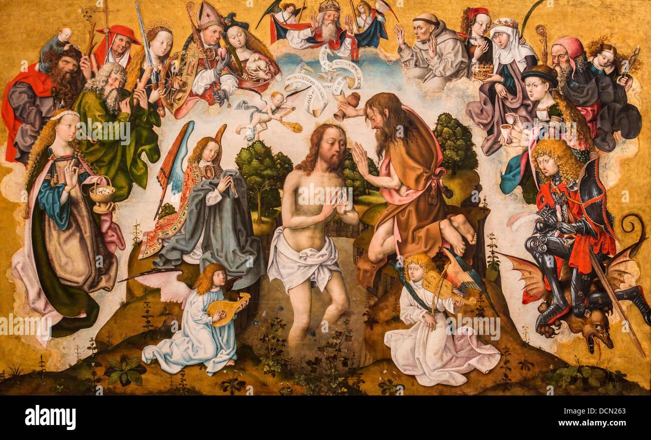 16. Jahrhundert - die Taufe Christi, um 1500 - Meister der Altar des Heiligen Bartholomäus Stockbild