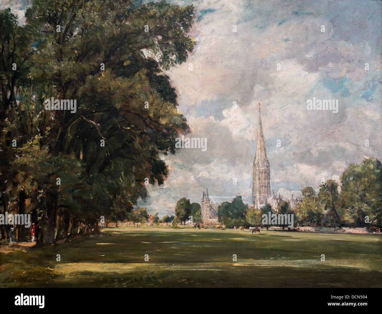 19. Jahrhundert - die Kathedrale von Salisbury aus niedrigeren Sumpf in der Nähe, 1820 - John Constable Philippe Stockbild