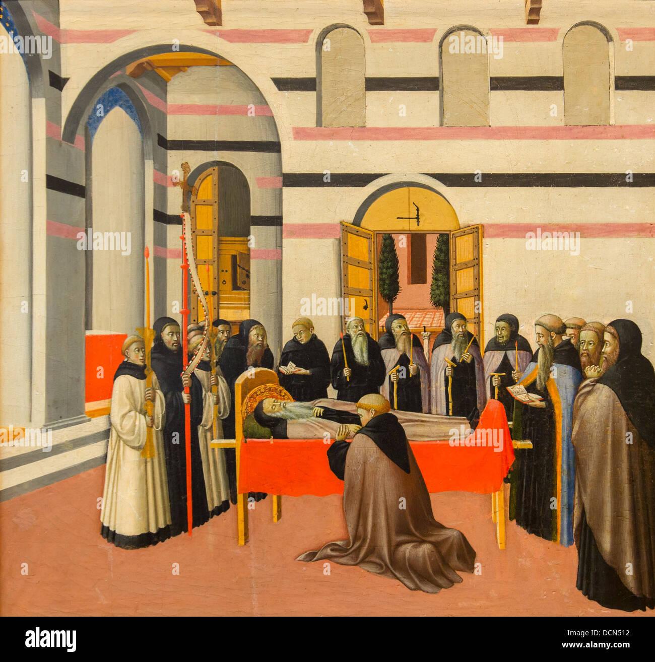 15. Jahrhundert - der Tod des Heiligen Antonius, um 1430 - Meister der Osservanza Triptychon Stockbild