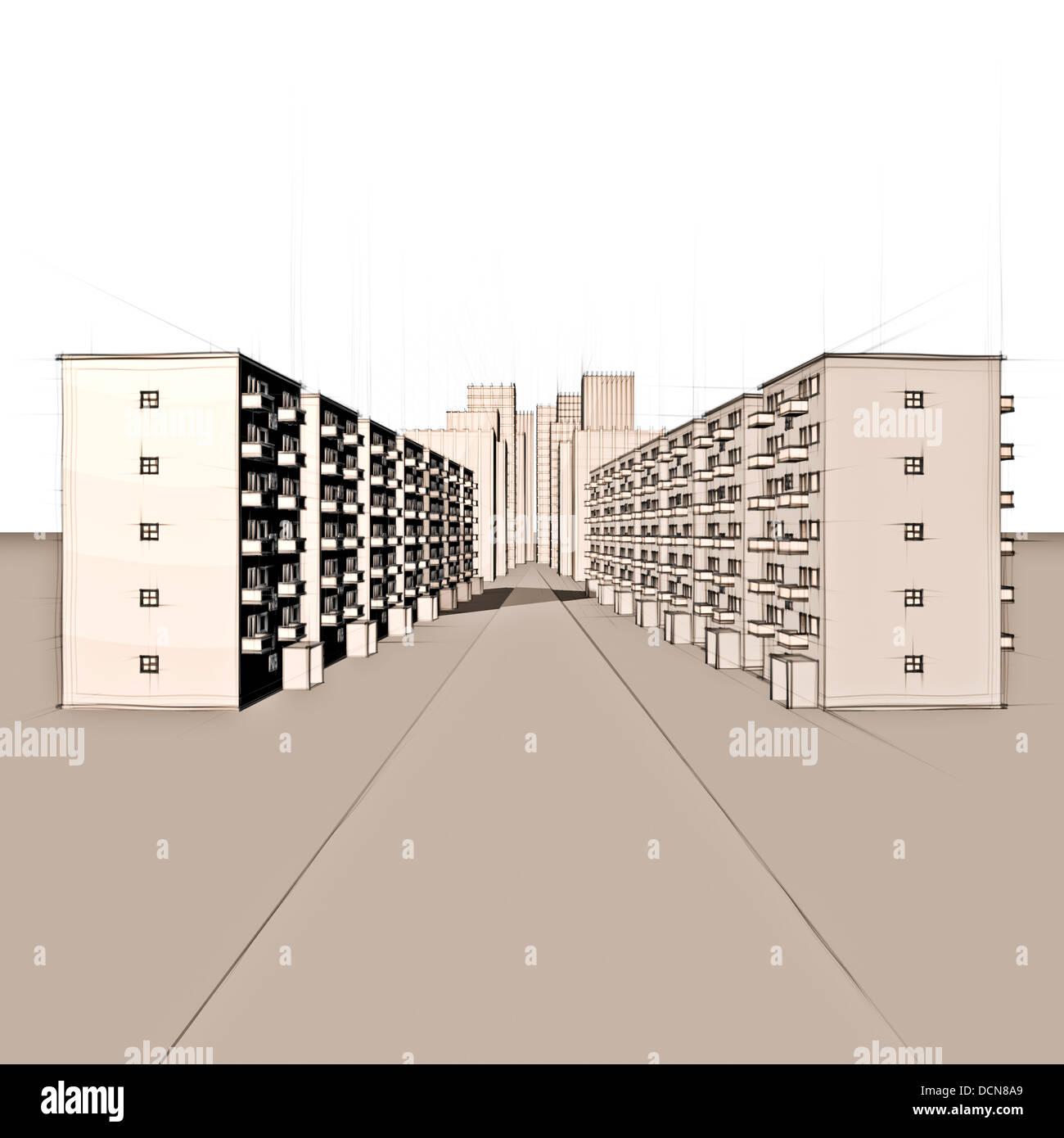 Architektur Skizze Von Einem Modernen Stadtbild