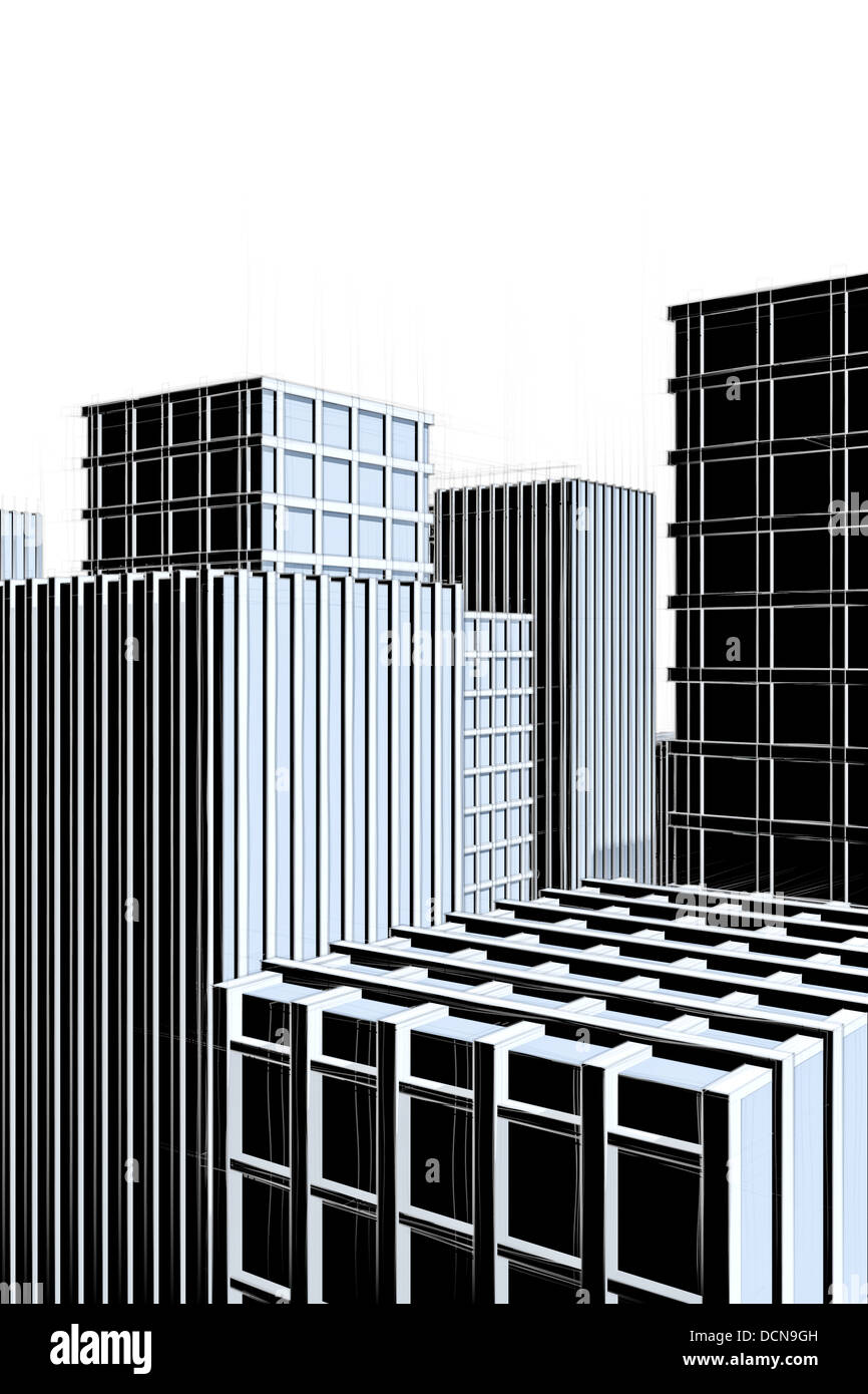 Dunkle Architektur Skizze Der Moderne Stadt Mit Wolkenkratzern