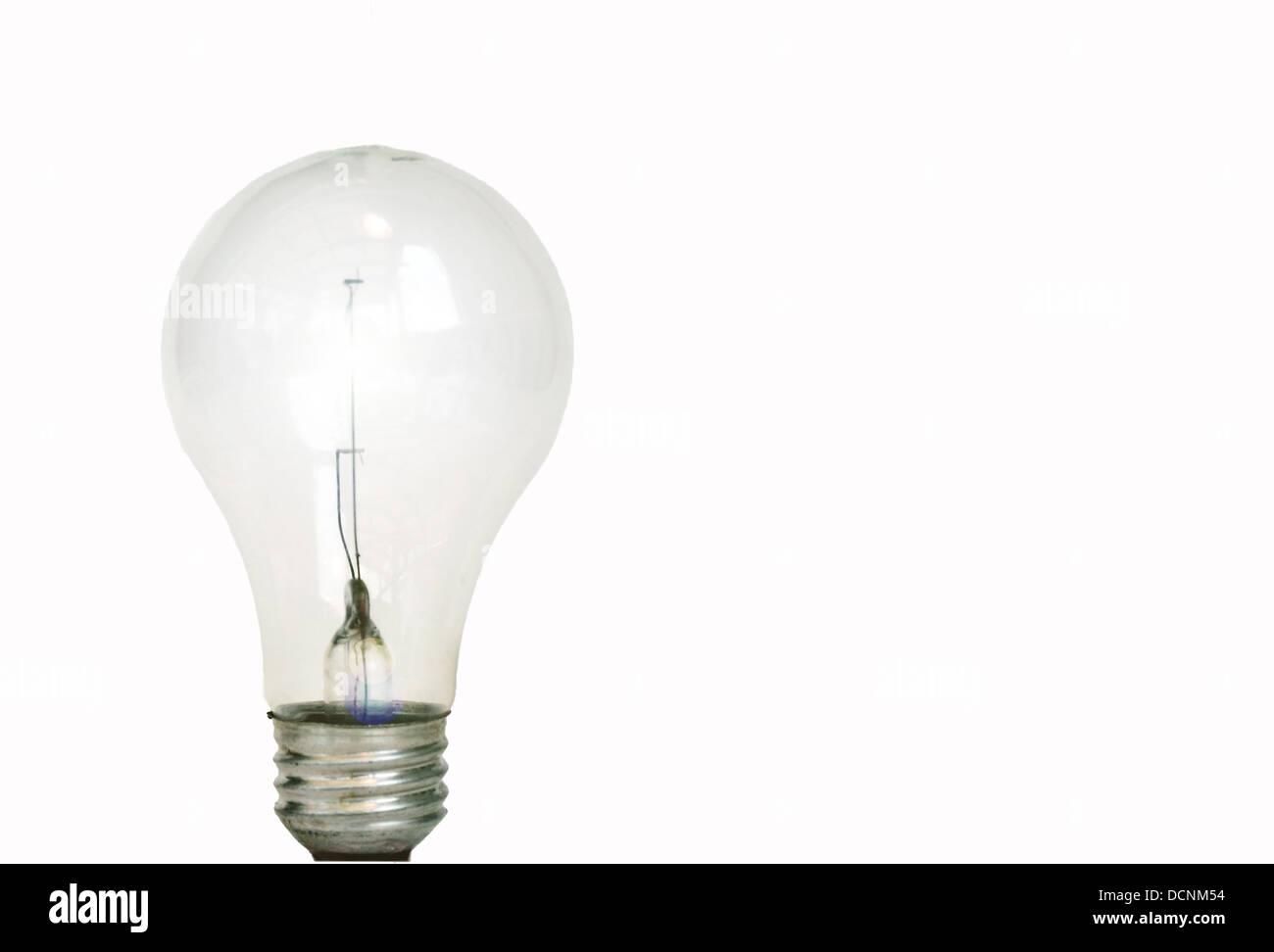 Glühbirne auf weiß Stockbild
