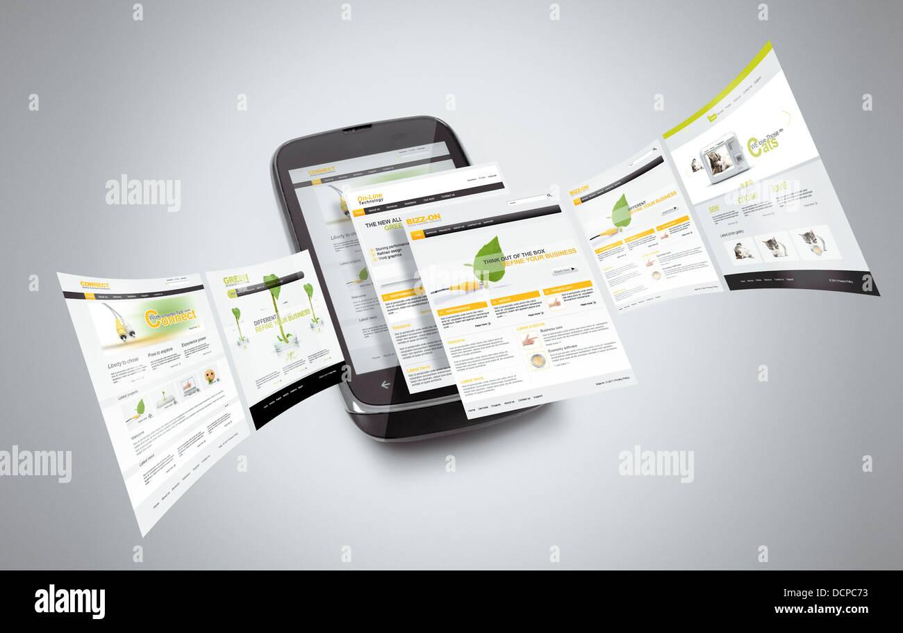 Smartphone mit Internet-Seiten, die von ihm ausgehen... Hinweis: alle Seiten sind von mir erstellt. Stockbild