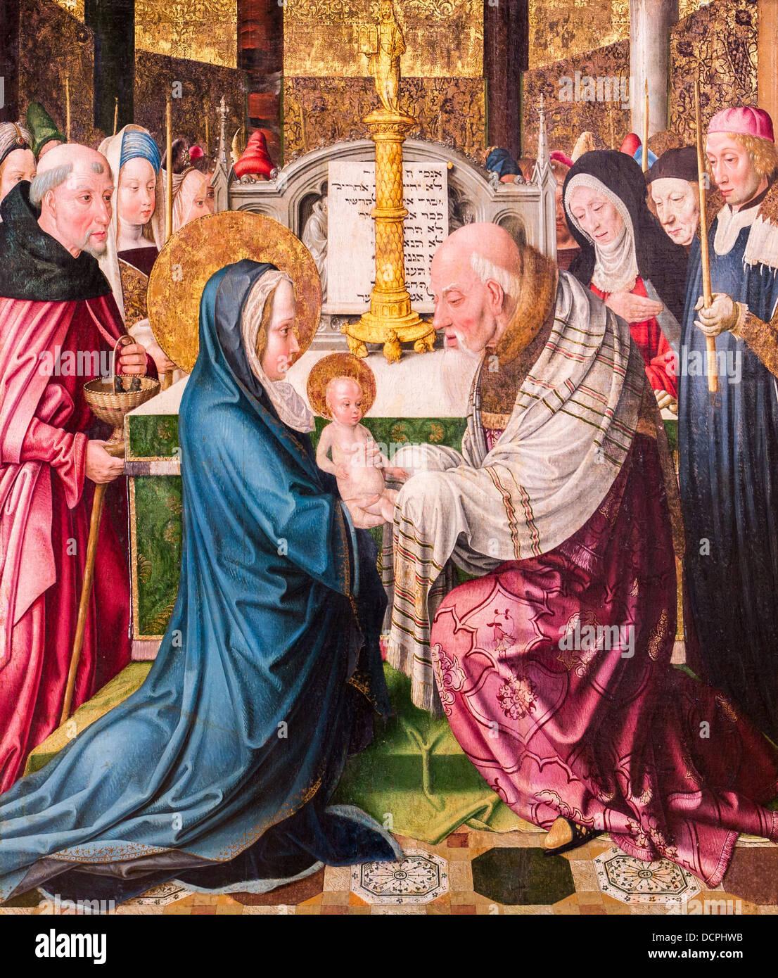 15. Jahrhundert - Einführung von Jesus im Tempel, um 1490 - Meister von St. Severin - Köln Stockbild