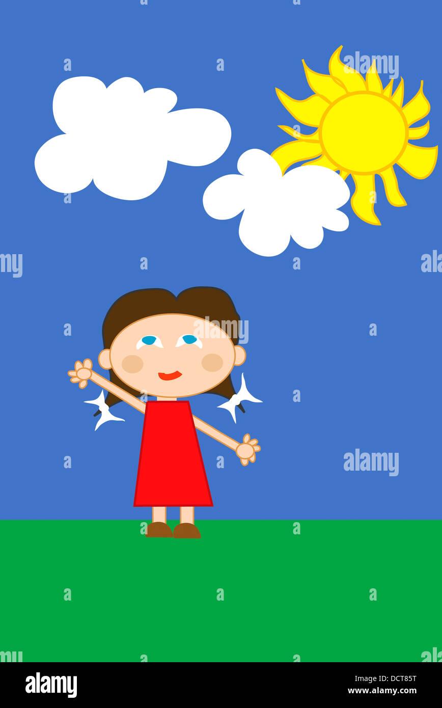 glückliches Mädchen im roten Kleid Stockbild