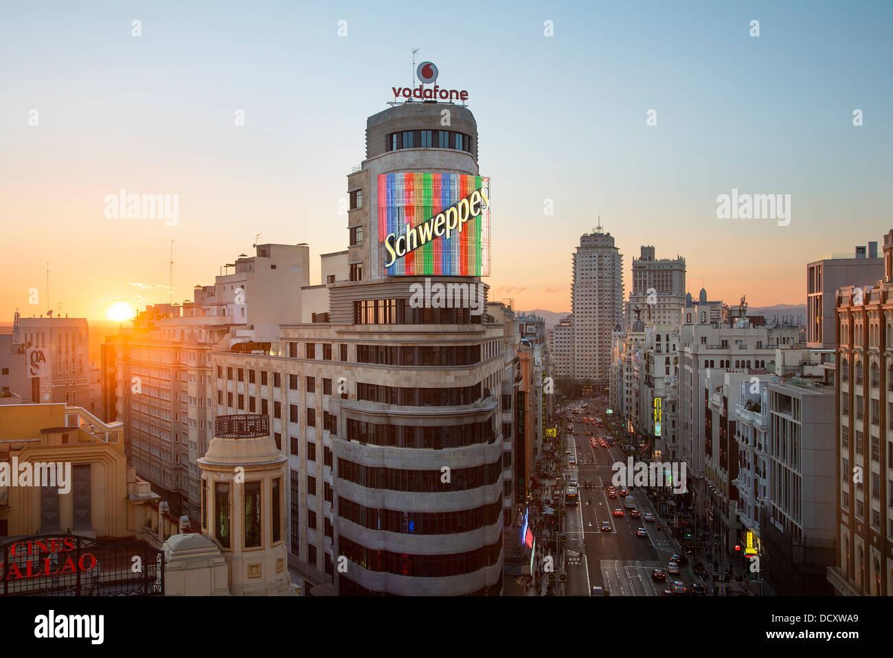 Skyline in Madrid Spanien Stockbild