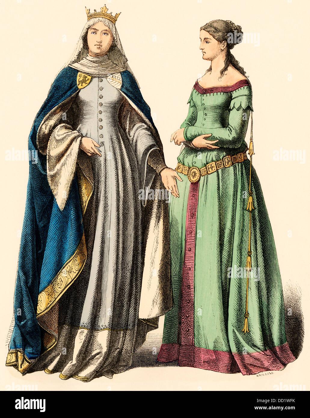 Deutsche Prinzessin und eine Dame, 1300 s Hand-print Farbige Stockbild