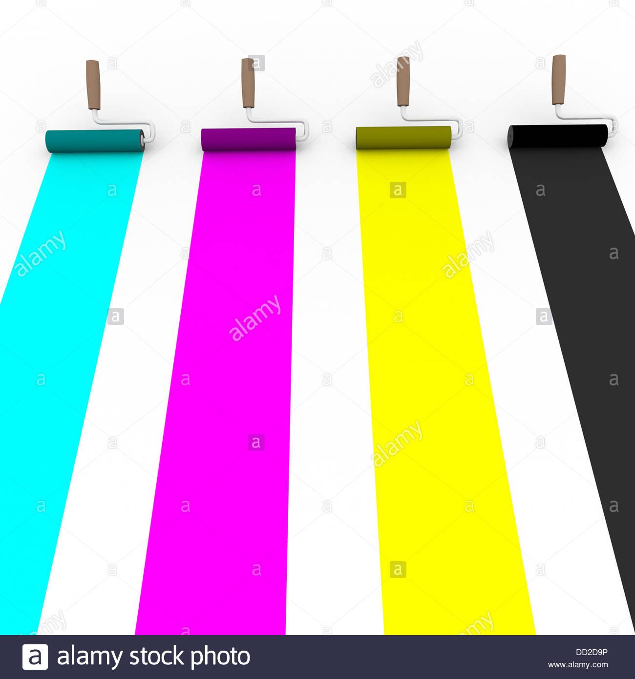 Vorderansicht von vier Malerrollen mit Cmyk-Farben. Grafik und prepress-Konzept Stockbild