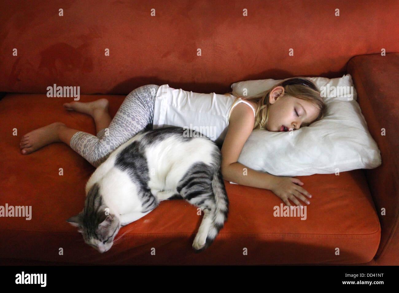 junges m dchen und eine katze schlafen auf dem sofa modell release verf gbar stockfoto bild. Black Bedroom Furniture Sets. Home Design Ideas