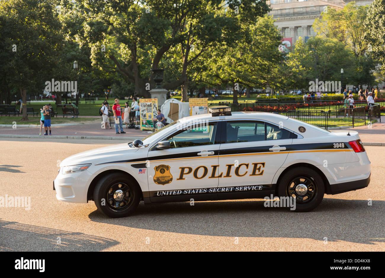 United States Secret Service (USSS) uniformierten Abteilung Polizeiauto parkte auf der Pennsylvania Avenue, Washington Stockbild