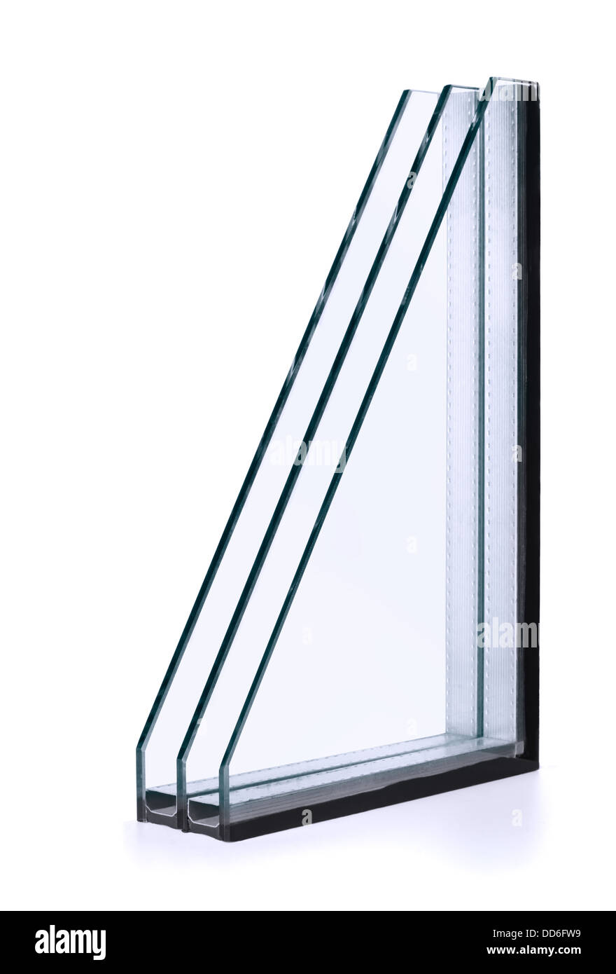 Dreifache Fenster isoliert Verglasung isoliert auf weiss Stockbild