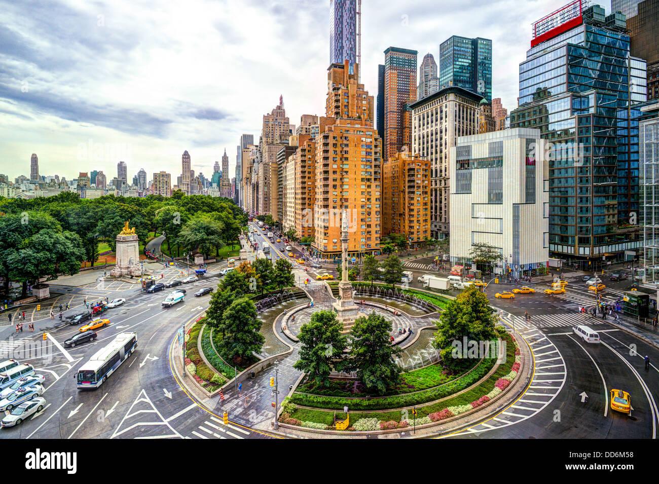 New York Stadtbild am Columbus Circle in Manhattan. Stockbild