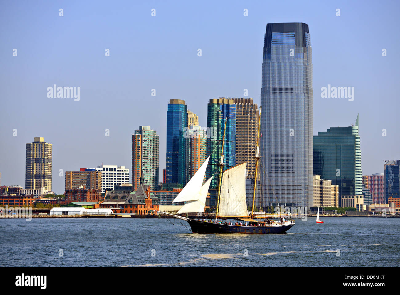 Skyline von New Jersey bei Exchange Place. Stockbild