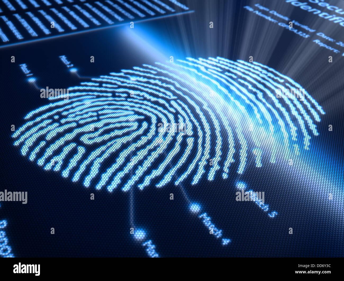 Fingerabdruck-Scan-Technologie auf dem pixeligen Bildschirm - 3d gerendert mit leichten DOF Stockbild
