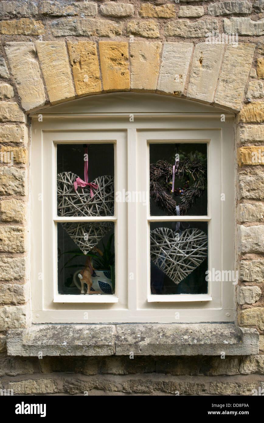 Handwerk Herzen In Einem Cotswold Landhaus Fenster England