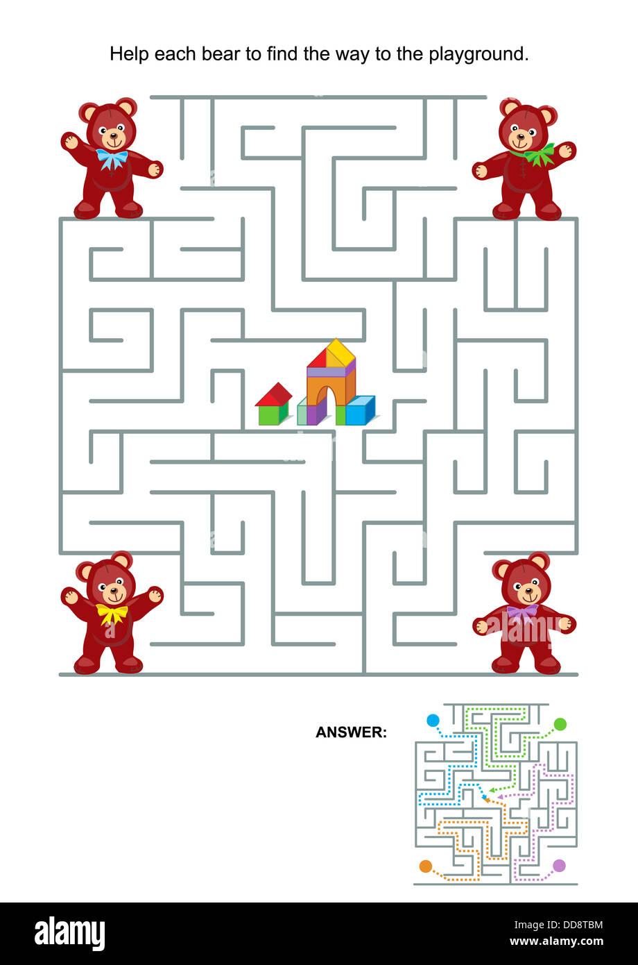 Labyrinth-Spiel oder Aktivität-Seite für Kinder: jeder Bär, der Weg ...