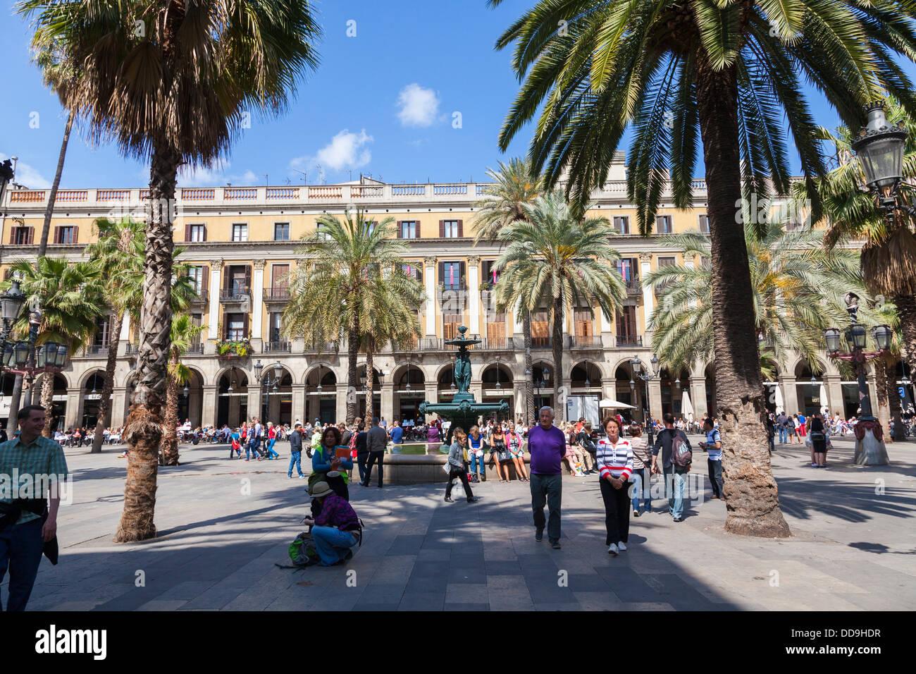 Placa Reial aus La Rambla Barcelona Stockbild