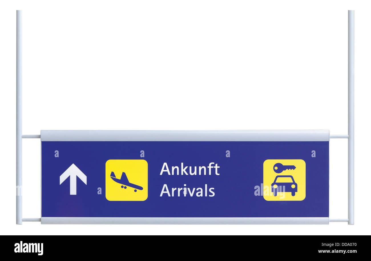 Ankunft-Platte vor weißem Hintergrund, Nahaufnahme Stockbild