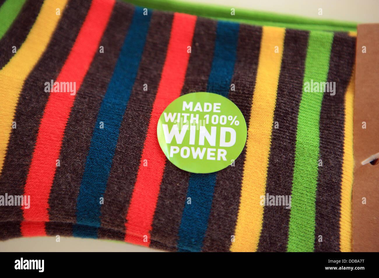 Socken aus 100 % Windenergie Stockbild