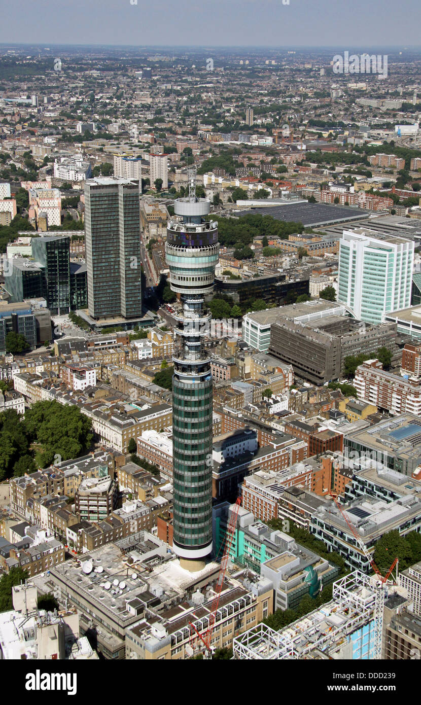 Luftbild von der Telekom-Turm in Belgravia, London. Ehemals der Post Office Tower Stockbild