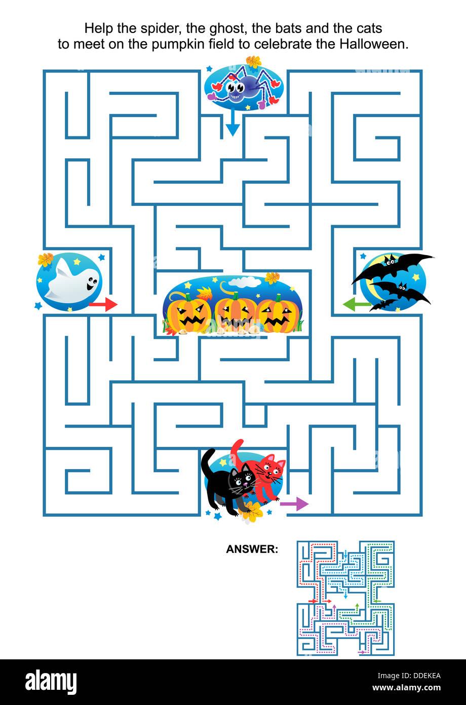 Labyrinth Spiel für Kinder: helfen, die Spinne, der Geist, die ...