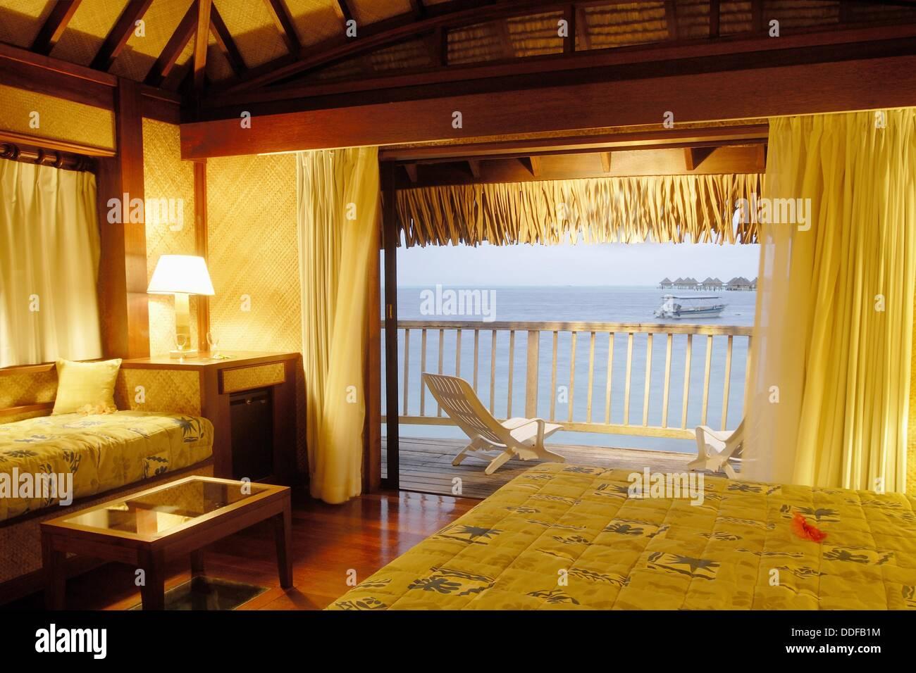 Interieur de Bungalow, Hotel Maitai Polynesia, Bora-Bora, Iles De La Societe, Archipel De La Polynesie Francaise, Stockbild