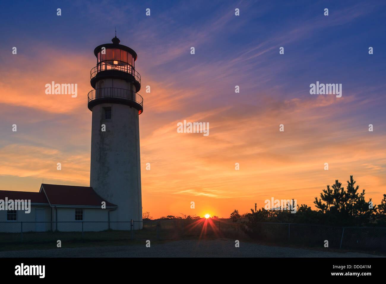Der älteste Leuchtturm Cape Cod, bekannt als das Highland-Licht Stockbild