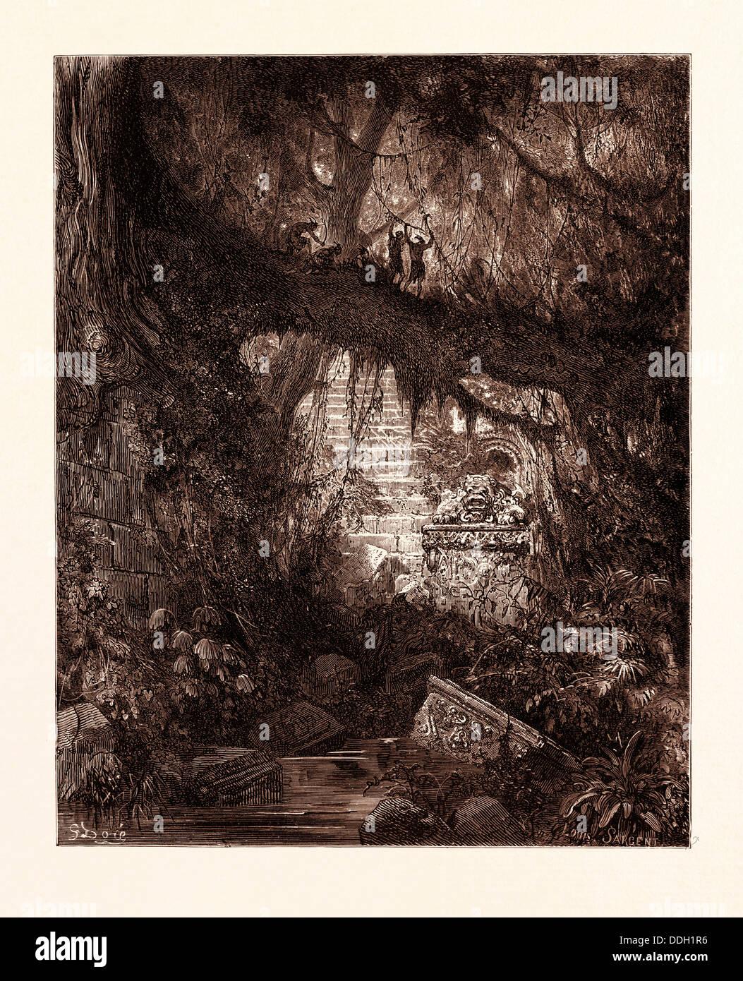 DAS HOLZ DES BLUTES IM ATALA VON GUSTAVE DORÉ. Dore, 1832-1883, Französisch. Gravur für Atala von Stockbild